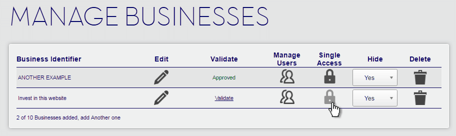 Manage Businesses Single Access Password